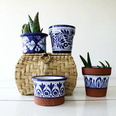CheriDemeterHome shared a new photo on Etsy Updates from CheriDemeterHome on Etsy Blue Pottery, Ceramic Pottery, Ceramic Art, Painted Flower Pots, Painted Pots, Hand Painted, Pottery Painting Designs, Pottery Designs, Ceramica Artistica Ideas