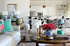 """Blogger Jennifer Griffin on tips for decorating with color: """"With all of the color that I love to use, the best decision I've made is to paint the walls a very light color. It gives a nice neutral background and allows those fun accessories to stand out without competing for attention."""""""
