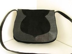 PHYLLIS POLAND of Italy, Black Suede Lizard Embossed Leather Shoulder Bag Purse