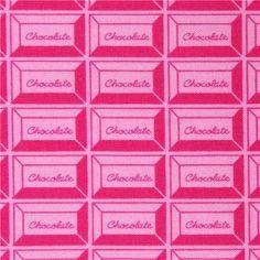 pink chocolate food fabric by Kokka from Japan