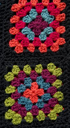 Big & Bright Granny Squares come together to make this bag a Fun & Eco Friendly way to shop all day! You will be Saving the Planet... one bag at a time!!    This bag/tote measures a generous 28 long including strap, and is 15 wide. each square is 6. The bag is unlined, and 100% cotton! Dry Clean only.