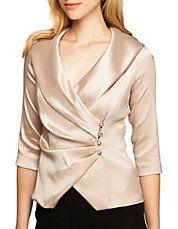 Plus Satin Portrait Collar Wrap Blouse