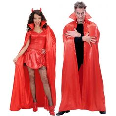 Satijnen cape in de kleur rood. Mooie luxe satijnen cape van ongeveer 158 cm lang. One size fits all.