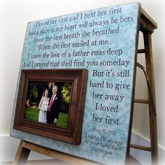 Parents Gift For Parents Personalized Picture Frame Wedding Gift Custom 16x16 I LOVED HER FIRST Anniversary Father Mother Quote Thank You on Etsy, $75.00