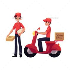 Buy Courier Delivery Service Worker Holding Package by Sabelskaya on GraphicRiver. Courier, delivery service worker riding scooter, standing with clipboard and parcel box, hand cart with boxes, cartoo. People Illustration, Character Illustration, Hand Cart, Parcel Box, Flyer Design Templates, Clipboard, Cool Logo, Packaging, Delivery