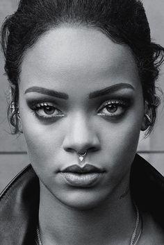 Rihanna 2016 Face Black White Poster