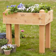 """URBAN FARMER RAISED BED--Elevated at a comfortable 36"""" height, this sturdy cedar planter bed is perfect for home-grown fruits and vegetables, flowers and herbs. Handcrafted in the USA of FSC-Certified western red cedar. Naturally rot-resistant, with galvanized exposed bolts, the wood will weather to a soft gray. 36""""W x 27""""D x 36""""H."""