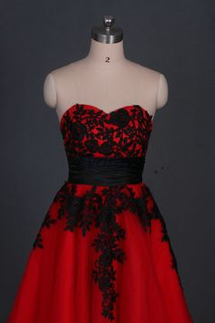 2016 Tea length red tulle prom dress with black lace by Evdress