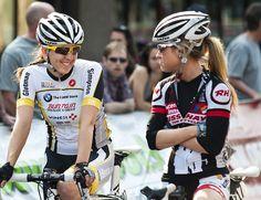 Erin Redl of team Glotman Simpson chats with Megan Rathwell of team Russ Hayes.  Brenco Criterium, Tour de Delta