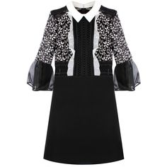 Self-Portrait Bell Sleeve Dress With Collar ($410) ❤ liked on Polyvore featuring dresses, lace dress, bell sleeve dress, short dresses, black and white short dresses and lace mini dress
