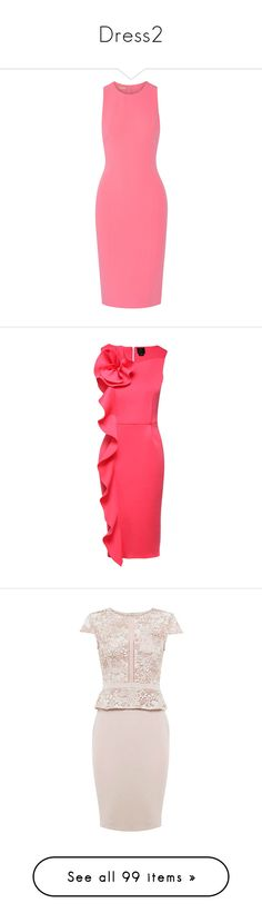 """""""Dress2"""" by queen-naznaz ❤ liked on Polyvore featuring dresses, pink bodycon dress, body con dresses, red sleeveless dress, red bodycon dress, stretch bodycon dress, flutter-sleeve dress, red ruffle dress, red dress and red flounce dress"""