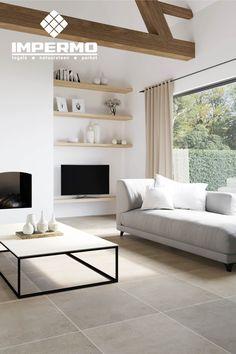 Natuursteen vloertegel, kalksteen in een woonkamer | Natural stone floor tile, limestone in a living room #natuursteen #kalksteen #woonkamer #naturalstone #limestone #livingroom
