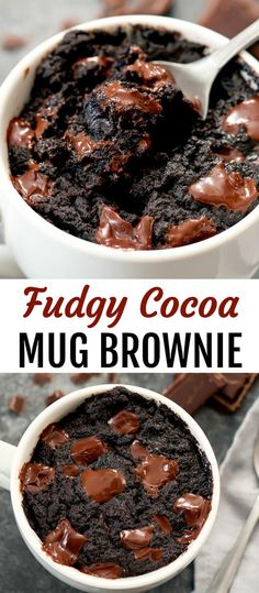 Mug Brownie Super fudgy mug brownie. This single serving brownie cooks in a mug in the microwave. It's ready in less than 5 minutes!Super fudgy mug brownie. This single serving brownie cooks in a mug in the microwave. It's ready in less than 5 minutes! Single Serve Brownie, Single Serve Desserts, Köstliche Desserts, Delicious Desserts, Yummy Food, Single Serving Cake, 5 Minute Desserts, Single Serving Recipes, Microwave Recipes