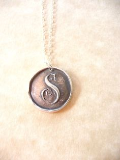 Monogram initial wax seal necklace pendant by DreamofaDream....My 6 month anniversary present, with our initials and wedding date on the back=)