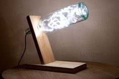 Wooden bottle desk lamp with white led strip.