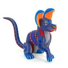COLORFUL DOG Oaxacan Alebrije Wood Carving Mexican Folk Art Sculpture Painting | eBay