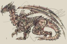 Elder Mechanical Dragon Design by Haru Naru Robot Dragon, Dragon Art, Robot Animal, Medieval, Steampunk Design, Mechanical Design, Dieselpunk, Fantasy Characters, Dark Art