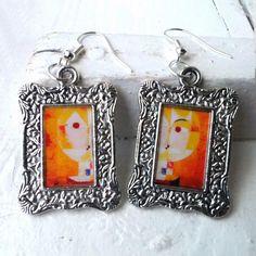 "€10 Paul Klee ""Senecio"" Earrings Frame Tibetan Silver Plated"