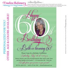 Womens 60th Birthday. Printable Milestone Birthday Invitations customized just for you. Other age and color options available. on Etsy, $14.00