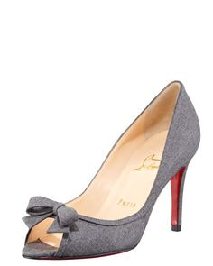 Milady Flannel Peep-Toe Pump by Christian Louboutin at Bergdorf Goodman.