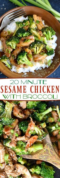 This easy 20 Minute Sesame Chicken with Broccoli is going to quickly become your favorite go-to easy dinner! Serve over white or brown rice for the perfect meal! So much better than takeout! // Mom On Timeout