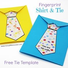 Father's Day tie card with free printable tie template. A fun shirt and tie craft for kids. An easy Father's Day craft for toddlers and preschoolers. Tell dad he is Tie-rrific! Kids Fathers Day Crafts, Fathers Day Art, First Fathers Day, Dad Day, Gifts For Kids, Kids Crafts, Snow Crafts, Daycare Crafts, Father's Day Card Template