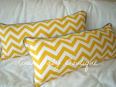 Grey and Yellow Chevron Bumperless Baby Bedding Pillows