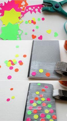 Libreta decorada con colores neon 3