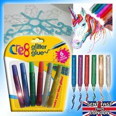 8 Assorted Colour Glitter Tubes Art /& Crafts Kids Card Making Scrapbook Sparkle