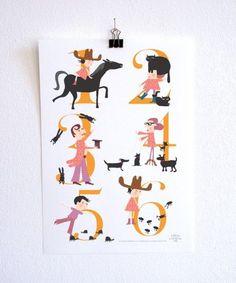 Cuenta los animales del poster. Imprimible gratis registrandose en la newsletter del blog // Count the Animals Free printable Numbers Poster by illustrator Caroline Ellerbeck for Appracadabra