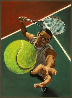 6. Foreshortening is the concept of drawing an image in which looks shorter to the viewer then it actually is, as though the object has been compressed.  In this image, the artist has used foreshortening to make the length of the tennis player's arm shorter than it actually is to express the motion the player is using when reaching to hit the ball
