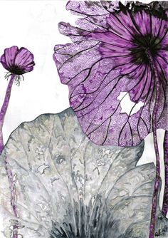 « Dentelles Végétales », aquarelle, encre, feuilles mortes, dentelle, fleurs mortes, violet Abstract Watercolor, Watercolor And Ink, Watercolor Flowers, Watercolor Paintings, Illustration Botanique, Botanical Illustration, Watercolor Illustration, Art Floral, Art Lotus