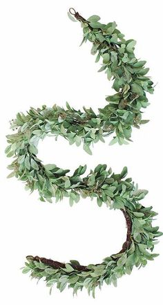Deluxe Artificial Lamb's Ear and Twig Garland in Green<br>8' Long