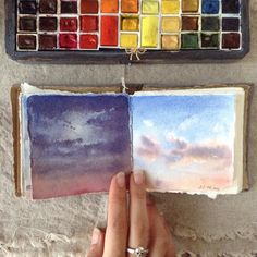 Shades of the sky Paintings of artist Lena Lytkina Inspiration and dreams Watercolor Drawing, Watercolor Landscape, Abstract Watercolor, Watercolor Paintings, Sky Painting, Painting & Drawing, Gouache, Pug, Small Paintings