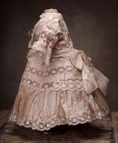 Antique French Original Silk Dress for Jumeau, Bru, Steiner Bebe doll