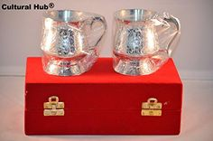 Cultural Hub ® JK-615-0355 Multi-Purpose Designer Beautiful Exclusive Silver Plated Engraved Embossed Beer Mug with Glossy Finish, Beautiful Shiny Red Velvet Box with Satin Cloth interior Makes Great Thanksgiving Gift, Wedding Cordial Gift, Housewarming, Diwali, Christmas Gift, Return Gift, Festive, Corporate Gift. (Classic Royal Tea and Coffee Cups) for serving Hot, Cold Beverage, Indian Handmade Chalice for Stylish Drinking Experience - http://www.fivedollarmarket.com/cult