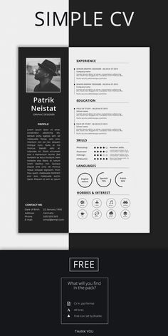 Creative and professional resume templates are perfect way to make the best impression for your job career. Beautiful collection of resume templates, portfolio Modern Cv Template, Simple Resume Template, Resume Design Template, Resume Templates, Graphic Design Resume, Cv Design, Flat Design, Logo Design, Unique Resume