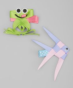 Look at this #zulilyfind! Bubbly Bows Green & Purple Frog & Angel Fish Hair Clip Set by Bubbly Bows #zulilyfinds