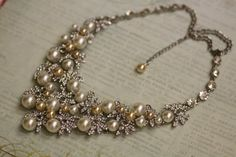 Bridal Jewelry, Bridal Necklace, Pearl Necklace, Swarovski crystal and pearl bridal necklace ,champagne pearls