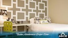 Geometrik desenlerin çok moda olduğu şu sıralar genç odası için geometrik desenli bir duvar hazırlanabilir. Bu çalışma boya veya duvar kağıdı ile yapılabileceği gibi ahşap bir panelle de bu görüntü sağlanabilir. #dekorasyonfikirleri