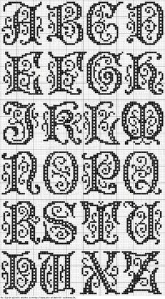 Cross stitch, or filet crochet - alphabet Cross Stitch Alphabet Patterns, Embroidery Alphabet, Cross Stitch Letters, Cross Stitch Charts, Cross Stitch Designs, Stitch Patterns, Cross Stitch Font, Filet Crochet Alphabet Charts, Cross Stitch Borders
