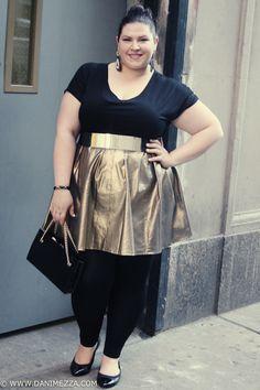 Danimezza Plus Size Blogger Outfit Denim Diamonds Mixer DIY Gold Skirt FFFWeek 2013
