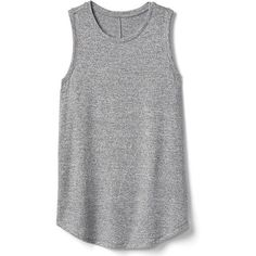 Gap Women Softspun Knit Muscle Tank ($30) ❤ liked on Polyvore featuring tops, regular, space dye grey marl, crew neck tank top, sleeveless tank, gray sleeveless top, grey muscle tank and grey tank top