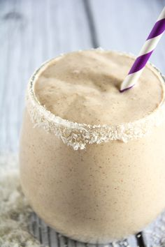 A velvety smoothie made with coconut milk, vanilla, almond butter and sweetened with dates! #paleo #glutenfree #smoothie