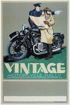 Vintage Motorcycle Rally, BMW R11, Vintage style poster by © Dennis Simon