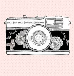 Background with retro camera. Vector illustration. Photo camera with flowers and birds. Camera with floral pattern.