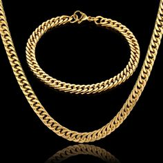 Vintage Jewelry Sets 3 Color Hiphop Black Gun Gold Color American Antique Stainless Steel Bracelet Necklace African Jewelry Set. Yesterday's price: US $13.61 (11.21 EUR). Today's price: US $6.53 (5.38 EUR). Discount: 52%.