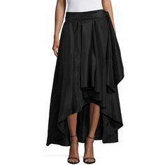 Melrose Asymmetrical Skirt ($40) ❤ liked on Polyvore featuring skirts, taffeta skirt and asymmetrical skirt