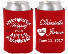 Happily Ever After, Personalized Wedding, Floral Wedding Favors, Heart,Cheap Koozies (274)