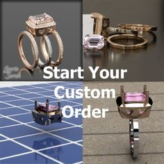 """Let me Custom Design your Engagement Ring, Wedding Ring or other Jewelry - Purchase this Link to Get Started - LSCD100 Perhaps she could re-create the setting I loved from Shubach Jewelers...in rose gold not white, with white sapphire or morganite not diamond (at least for the center stone), and engagement ring and wedding bands separate instead of fused. And including the high-profile with """"peek-a-boo"""" diamond, and everything else that I liked so well in the original design!"""